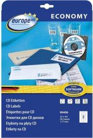 Etykiety na CD Economy Europe 100, 117mm, 25 arkuszy