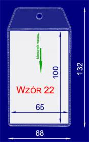 Identyfikator zawieszka/targowy, pion, folia, 65x100, transparentny