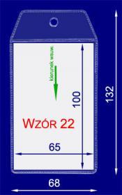 Identyfikator zawieszka, pion, folia, 65x100, transparentny