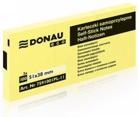 Notes samoprzylepny Donau Eco, 38x51mm, 100 karteczek, jasnożółty pastelowy