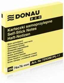 Notes samoprzylepny Donau Eco, 76x76mm, 100 karteczek, jasnożółty pastelowy
