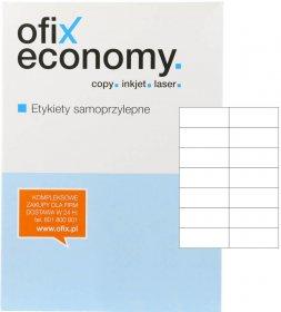 Etykiety uniwersalne Ofix Economy, 105x42.4mm, 100 arkuszy, biały
