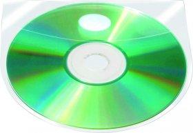Kieszeń z oknem na CD/DVD Q-Connect, PP, 10 sztuk, przezroczysty