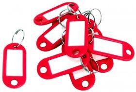 Zawieszki do kluczy D.Rect, plastik, 10 sztuk, czerwony