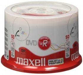 Płyta DVD-R Maxell, do jednokrotnego zapisu, 4.7 GB, printable, cake box, 50 sztuk