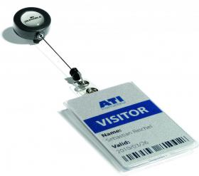 Etui do kart magnetycznych Durable, z mechanizmem ściągającym, 85x54mm (pionowe), przezroczysty
