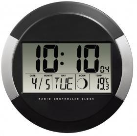 Zegar elektroniczny ścienny Hama DCF PP-245, 24.5cm, tarcza kolor szary, obudowa kolor czarny