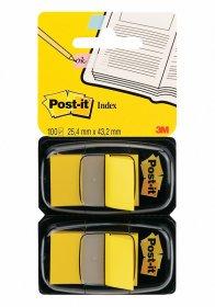 Zakładki samoprzylepne Post-it proste, indeksujące, folia, półtransparentne, 25x43mm, 2x50 sztuk, żółty