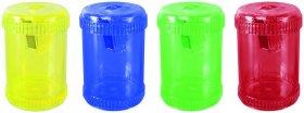 Temperówka z pojemnikiem Donau, plastik, 1 otwór, beczka, mix kolorów