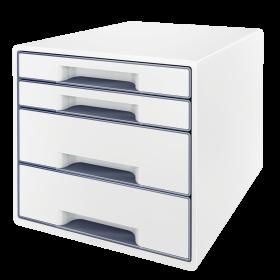Pojemnik Leitz Wow Cube, z 4 szufladami, A4+, biało-szary