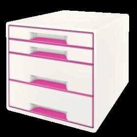 Pojemnik Leitz Wow Cube, z 4 szufladami, A4+, biało-różowy