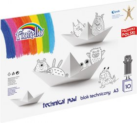Blok techniczny Fiorello, A3, 10 kartek, biały