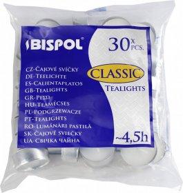 Podgrzewacz - świeczka Bispol, 30 sztuk, biały