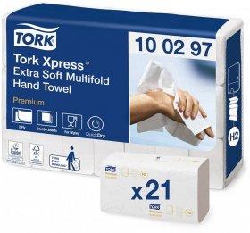 Ręcznik papierowy Ekstra Soft Premium Tork, dwuwarstwowy, w składce ZZ, 21x100 składek, biały