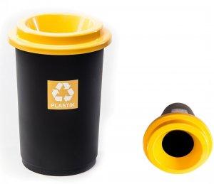Kosz do segregacji plastiku Curver Eco Bin, 50l, czarno-żółty