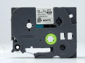 Taśma laminowana do drukarek etykiet Brother TZE-SE4, 18mmx8m, nadruk czarny, taśma biała