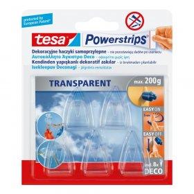 Plastry samoprzylepne Tesa Powerstrips Deco, 8 sztuk + haczyki 5 sztuk, transparentny