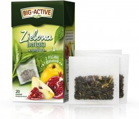 Herbata zielona smakowa w torebkach Big-Active, pigwa + granat, 20 sztuk x 1.7g