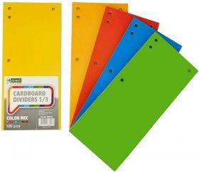 Przekładki kartonowe wąskie D.Rect, 1/3 A4, 100 sztuk, mix kolorów
