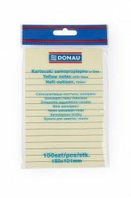 Notes samoprzylepny w linie Donau, 101x150mm, 100 karteczek, żółty