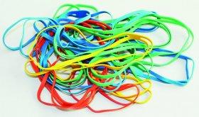 Gumki krzyżowe Q-Connect, 100mm, 100g, mix kolorów
