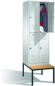 Szafa ubraniowa z ławeczką C+P, siedzisko bukowe, metal, 2090x810x500mm, grubość blachy 0.8-1.0 mm, szary jasny