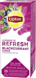 Herbata czarna smakowa w kopertach Lipton Classic Blackcurrant, czarna porzeczka, 25 sztuk x 1.6g