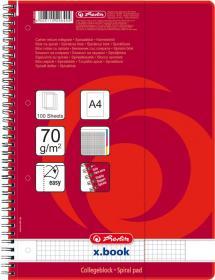 Kołonotatnik z kolorowymi indeksami Herlitz, A4, w kratkę, 100 kartek, czerwony