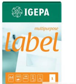 Etykiety samoprzylepne Igepa, 105 x 37mm, 100 arkuszy