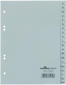Przekładki plastikowe alfabetyczne Durable, A5, A-Z, 20 kart, szary
