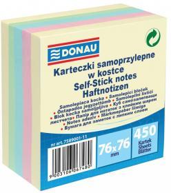 Notes samoprzylepny Donau, 76x76mm, 450 karteczek, mix kolorów pastelowych