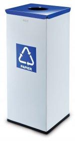 Kosz do segregacji odpadów Alda, Eko Square,  papier, 60l, srebrno-niebieski