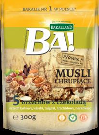 Musli chrupiące Bakalland, 5 orzechów z czekoladą, 300g