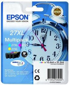 Zestaw tuszy Epson T2715 XL, 1100 stron, cyan (błękitny), magenta (purpurowy), yellow (żółty)
