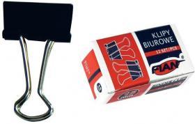 Klip biurowy Fian, 15 mm, 12 sztuk, czarny