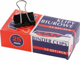 Klip biurowy Fian, 25 mm, 12 sztuk, czarny