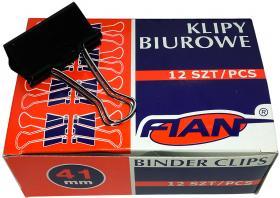 Klip biurowy Fian, 41 mm, 12 sztuk, czarny