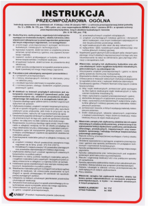 """Tabliczka informacyjna Anro, """"Instrukcja przeciwpożarowa ogólna"""" Z-IP2"""