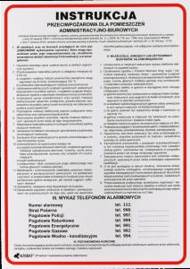"""Tabliczka informacyjna Anro, """"Instrukcja przeciwpożarowa dla pomieszczeń administracyjno-biurowych"""""""