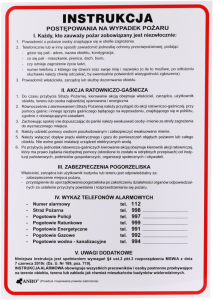 """Tabliczka informacyjna Anro, """"Instrukcja postępowania na wypadek pożaru"""""""