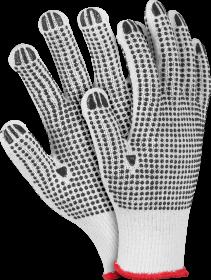 Rękawice tkaninowe Reis, RDZN, nakrapiane, rozmiar 10, biało-czarny