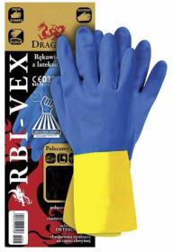 Rękawice ochronne Reis RBI-VEX, wykonane z latexu i kauczuku neoprenowego, rozmiar 7, niebiesko-żółty