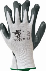 Rękawice powlekane nitrylem Reis, Rteni, rozmiar 7, nylon, biało-szary