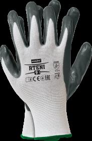 Rękawice powlekane nitrylem Reis Rteni, rozmiar 9, nylon, biało-szary