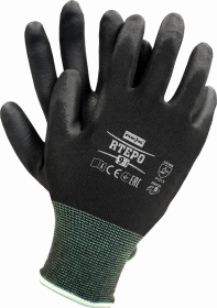 Rękawice powlekane poliuretanem Mag-Dar RTEPO, rozmiar 7, czarny