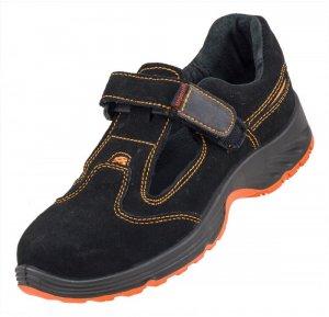 Sandały robocze Urgent 304 SB, skóra bydlęca zamszowa, rozmiar 43, czarno-pomarańczowy