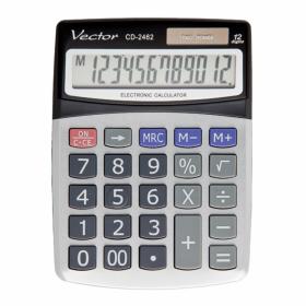 Kalkulator biurowy Vector CD-2462, 12 cyfr, srebrno-czarny