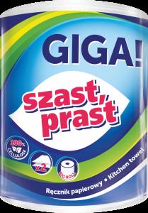 Ręcznik papierowy Szast Prast Giga, 2-warstwowy, 58m, w roli, 1 rolka, biały