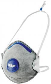 Półmaska Dräger 1320 FFP2 V NR D Odour, z ciemnoniebieskim zaworkiem oddechowym, szary