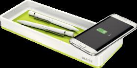 Piórnik Leitz WOW z ładowarką indukcyjną, ze złączem USB, zielony